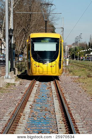 Modern light rail trolley in Buenos Aires, Argentina