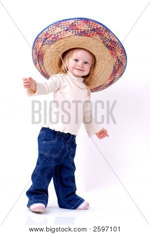 Dancing Little Girl In A Mexican Straw Hat
