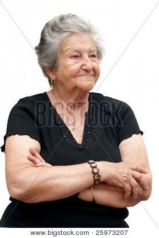 Hermosa cubana bisabuela de cerca. Mujer en sus noventa años.