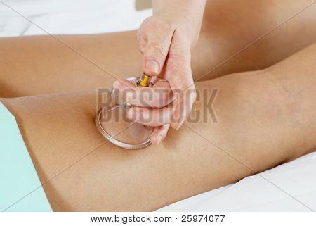 Massage for feet. In massage salon