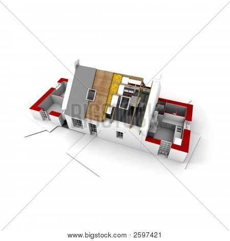 Roofless House On Architect Blueprints Red