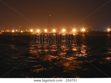 Harbor Lights At Night