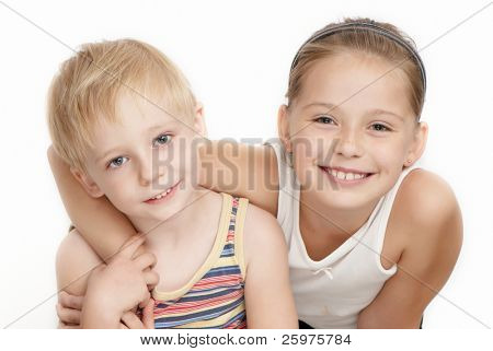 Portrait of beautiful children on a white background