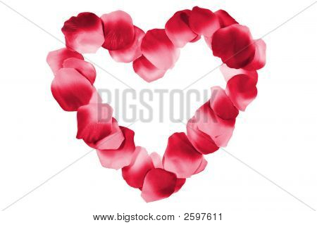 Red Heart Made From Petals