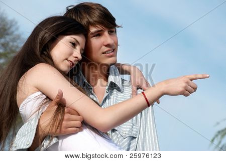 young couple on the nature