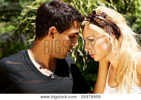 Portrait of emotional pair wallowed in problems of mutual relations