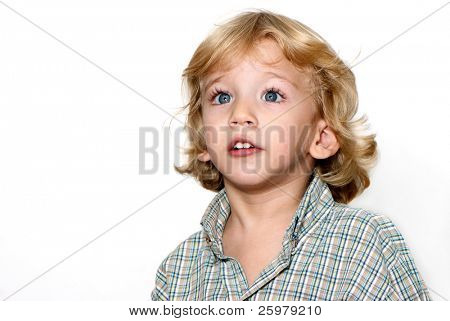 The boy with surprised face isolated