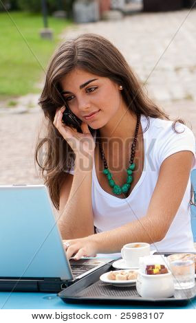 A young attractive woman sitting in a cafe with a laptop and cellular