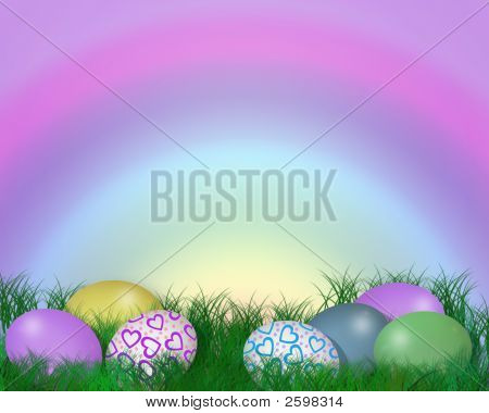 Easter Eggs In Grass Rainbow