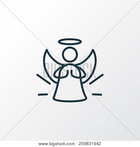 poster of Angel Icon Line Symbol. Premium Quality Isolated Halo Element In Trendy Style.