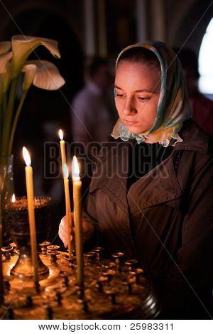 Ukraine. Easter, parishioners of the Orthodox Church.