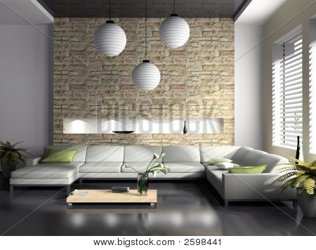 Modern Interior Of Drawing-Room 3D Rendering