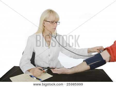 medical doctor verify blood-pressure and pulse