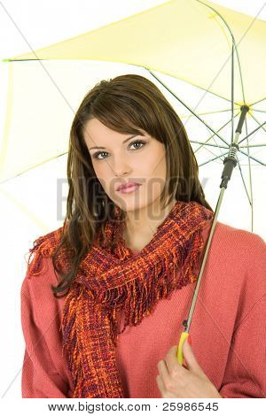 beautiful Woman with yellow umbrella