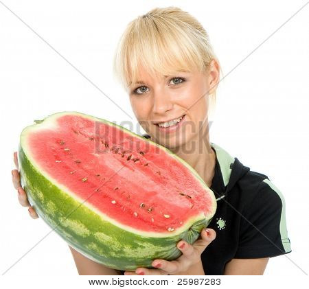 Beautiful young fruit-grower hold on a water-melon