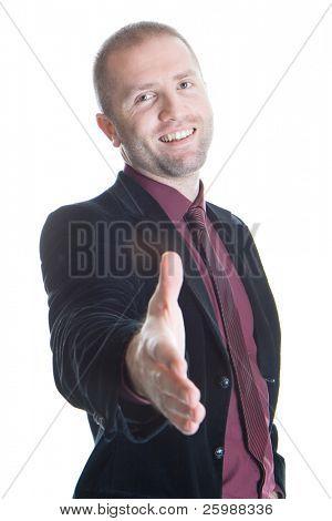Un hombre de negocios con la mano abierta listo para sellar un acuerdo