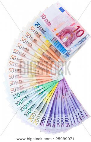 European currency banknotes on white background