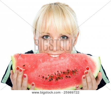 Beautiful young fruit-grower hold on a slice of water-melon