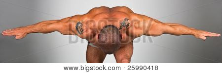 Back, shoulders and neck of a muscular man