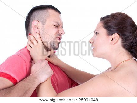 Angry wife from front try to strangle unfaithful husband, studio shot
