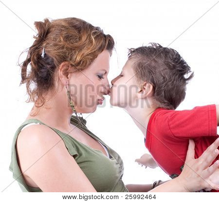Family moments - Mother and child have a fun, soft focus on nose