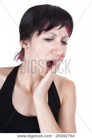 expressive portrait of woman who has tooth pain, studio shot