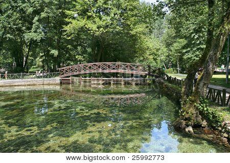 Beautiful colour of  spring Bosna river in Sarajevo, Bosnia and Herzegovina