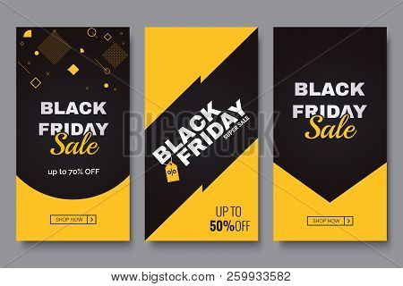 poster of Black Friday Vertical Promotion Banner Set. Sale Banners Design Template. Yellow And Black Geometric