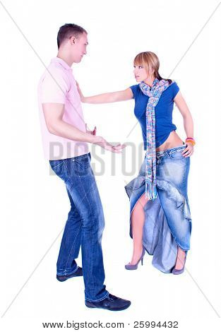 Young couple in conflict, isolated on white background