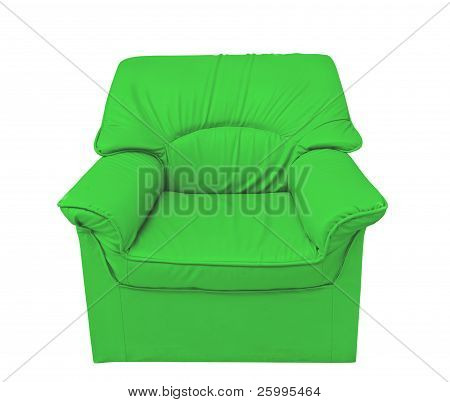 The Green Leather Sofa Isolated On White