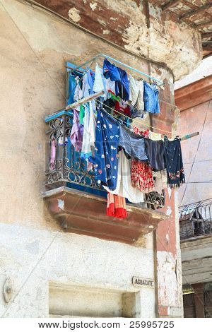 An abstract view of a terrace with laundry  in old Havana, Cuba