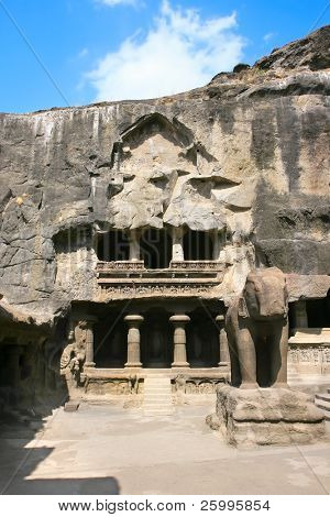 Entrance and Elephant statue in the  Jain Temple (Indra Sabha). Cave number 32, Ellora Caves, near Aurangabad, India. 10th - 12th Century AD