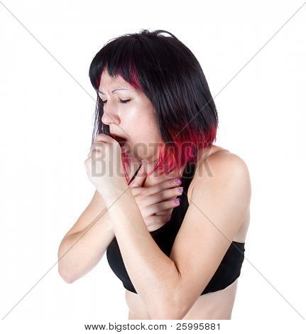 Woman suffering with a bad cough and cold , studio shot