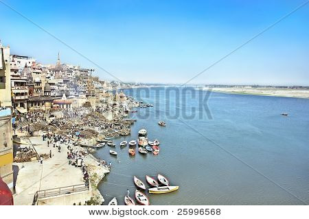 VARANASI, INDIA - 13 FEBRUARY:Manikarnika Ghat, main burning ghat, most auspicious place for Hindu to be cremated on banks of Ganges river,  Uttar Pradesh,february 13, 2008 in Varanasi, India.