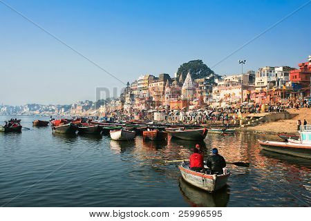 VARANASI, INDIA - 14 FEBRUARY:  Main ghat on the banks of Ganges river,  in holy Varanasi,  Uttar Pradesh, on  February 14, 2008 in Varanasi, India.