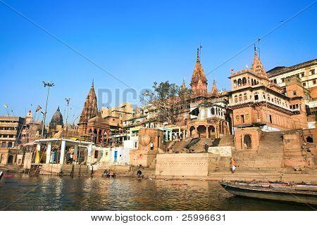 VARANASI, INDIA - 14 FEBRUARY:  Manikarnika ghat on the banks of Ganges river,  in holy Varanasi,  Uttar Pradesh, on  February 14, 2008 in Varanasi, India.
