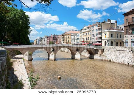 Bridge on Miljacka river in Sarajevo the capital city of Bosnia and Herzegovina