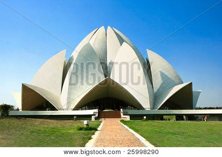 Lotus Temple against blue sky , New Delhi, India