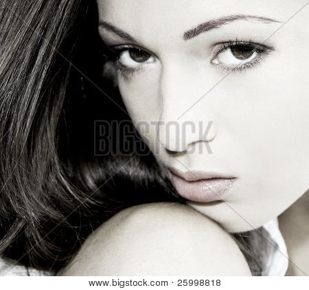 Beautiful woman portrait, black white, outdoor shot