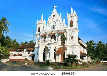 Village Church in sunset  ,Goa,  India