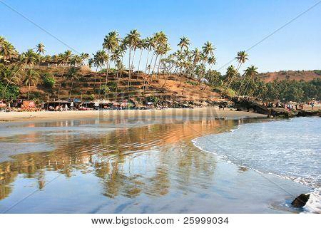Panoramic view of beautiful tropical beach little Vagator, Goa, India