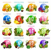 Vitamins And Minerals In Healthy Food Of Salad Vegetables, Fruits, Nuts, Cereals And Berries. Vector poster