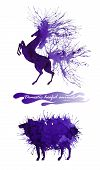 Domestic Hoofed Animals. The Horse And The Sheep. Natural Cliparts For Wedding Design, Artistic Crea poster