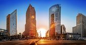 Panoramic View At The Potsdamer Platz At Sunset poster