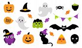 Halloween Stickers. Set Of Cute Halloween Stickers With Different Characters. Ghost, Pumpkin, Owl, C poster