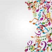 Music Colorful Background With Music Notes And G-clef Vector Illustration Design. Artistic Music Fes poster