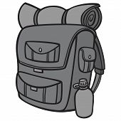 Black And White Hiking Backpack - A Vector Cartoon Illustration Of A Hiking Backpack. poster