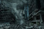 A Cinematic Portrayal Of A City Destroyed By A Typhoon, Hurricane Or Tornado Twister. Concept Of Nat poster