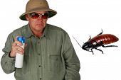 picture of creepy crawlies  - a man in a pith helmet sprays Bug Spray towards a giant cockroach with  - JPG