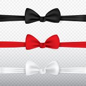 Realistic White, Black And Red Bow Tie Isolated On Transparent Background. Set Of Tie Bow Knot Silk, poster